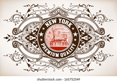 Retro banner. Old train engraving