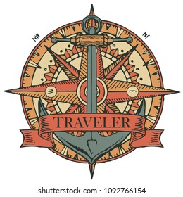 Retro banner with a ship anchor, wind rose, old nautical compass and ribbon with word Traveler. Vector illustration on the theme of travel, adventure and discovery on white background