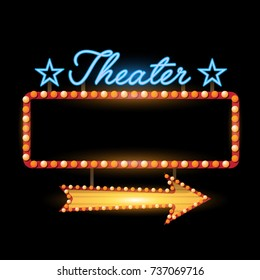 Retro banner theater vintage neon sign eps 10