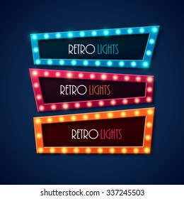 Retro banners with shining lights. Vector illustration.