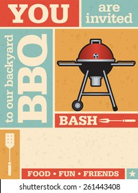 Retro Barbecue Vector Invitation template with grid pattern and grunge texture.