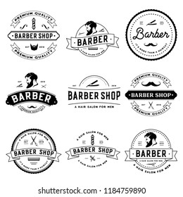 Retro Barber badge logo design on a white background.