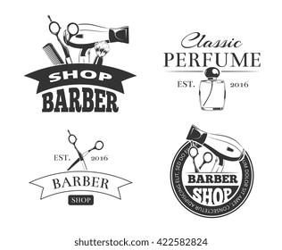 Retro barber shop vector emblem or logo set.