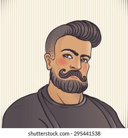 Retro BarberShop Vintage Template. Vector illustration with barber's portrait.