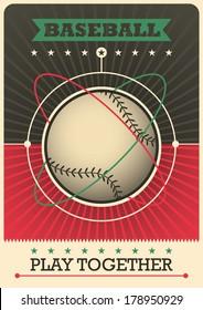 Retro baseball poster design. Vector illustration.