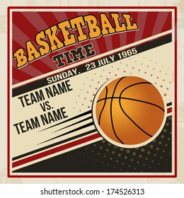 Retro basketball poster design. Vintage grunge sport flyer concept, vector illustration