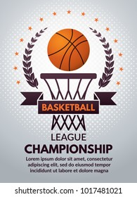Retro basketball poster for sport college. Vector basketball banner for college competition championship or tournament illustration