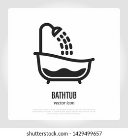 Retro bathtub with running water from shower. Thin line icon. Logo for plumbing. Vector illustration.