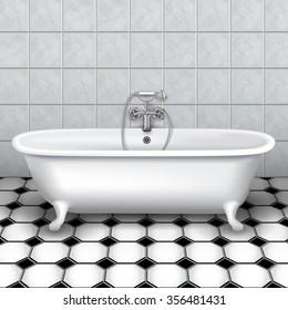 Retro bathtub in a tiled bathroom. Vector Illustration
