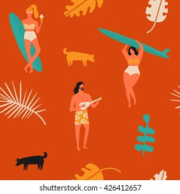 Retro beach summer poster. Surfing seamless pattern with girls carrying surfboard and a guy playing guitar.