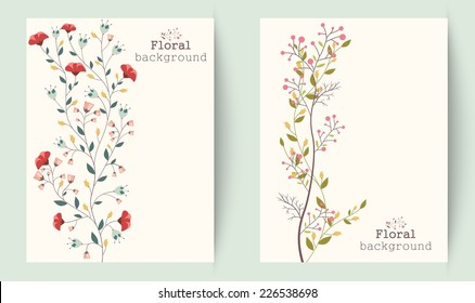 Retro beautiful flower banners