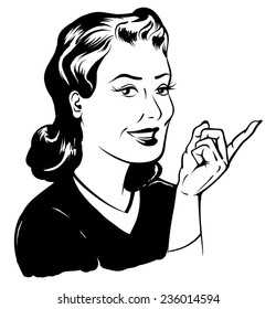 Retro beautiful pointing vintage lady