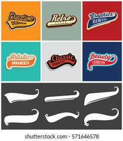 Retro Beautiful Style Swooshes Set with Colorful Typography Samples