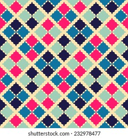 Retro beauty seamless pattern. Vector illustration for fashion bright background. Feminine mosaic style. Rhombus shapes with wave edges.
