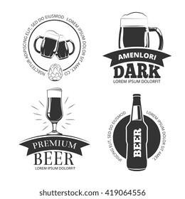 Retro beer goods vector emblems, labels, badges, logos set. Label beer and logo set premium beer illustration