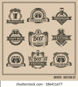 Retro Beer Labels and Icons - Vector Design Set