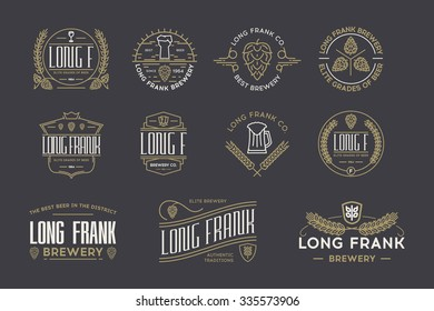 Retro beer logo temlates on a dark background. Stock vector.