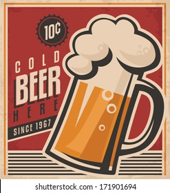 Retro beer vector poster. Vintage ad template for cold ale. Vector old paper texture with food and drink background concept.