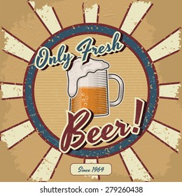Retro beer vector poster. Vintage poster template for fresh beer. Retro label  or banner design. Vector old paper texture food and drink background concept.