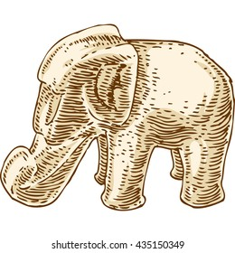 Retro Beige Elephant Figurine Isolated Over White