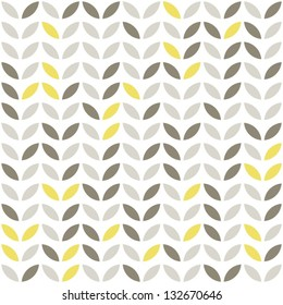 retro beige yellow brown leaves shaped elements in rows on white background abstract geometric seamless pattern