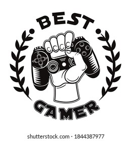Retro best gamer badge vector illustration. Monochrome hand grasping game controller. Videogame and computer tournament concept can be used for retro template, banner or poster