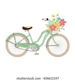 Retro bicycle green with a basket of beautiful flowers. Vector illustration. Print on clothes, fabrics and surfaces.