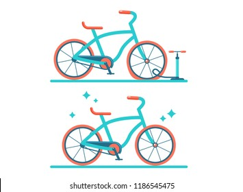 Retro bicycle vector flat illustration. Set of two bicycles. Bicycle with a flat tire. Pumping of the wheel.