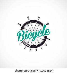 Retro Bicycle Vector Label or Logo Template. Bicycle Handler with ,,Bicycle SHOP & SERVICE,, text.