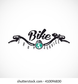 Retro Bicycle Vector Label or Logo Template. Bicycle Handler with ,,Bike SHOP & SERVICE,, text.
