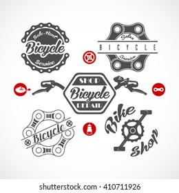 Retro Bicycle Vector Labels or Logo Templates Set Isolated