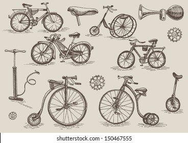 retro bicycles vector set