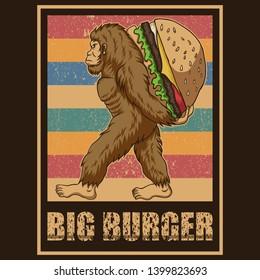 Retro Bigfoot Burger Vector illustration