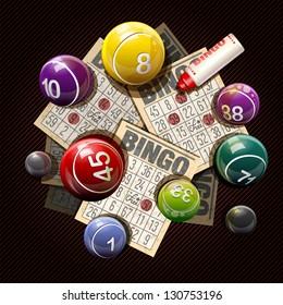 Retro bingo or lottery balls and cards