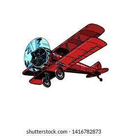 retro biplane aircraft. Pop art vector illustration vintage kitsch