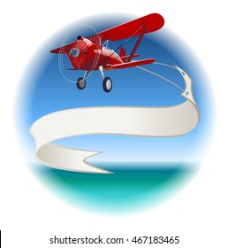 Retro Biplane with Banner. EPS-10 vector format separated by groups and layers for easy edit