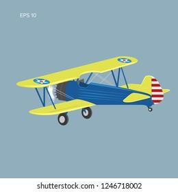 Retro biplane plane vector illusration. Small vintage piston engine airplane. Training aircraft back view