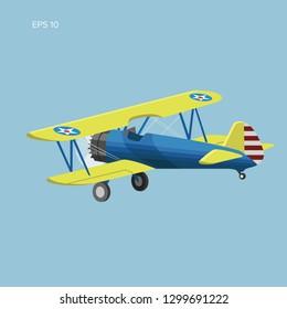 Retro biplane plane vector illusration. Small vintage piston engine airplane flat design. Training aircraft back view