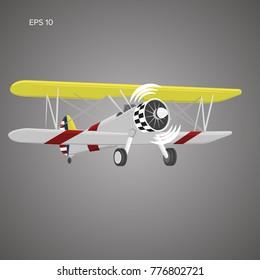 Retro biplane plane vector illusration. Small vintage piston engine airplane. Training aircraft front view