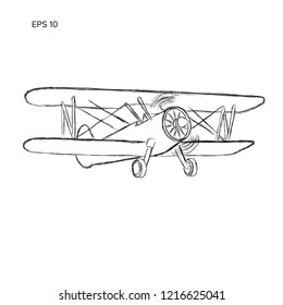 Retro biplane plane vector sketch. Small vintage piston engine airplane. Training aircraft hand drawn