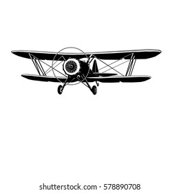retro biplane, vector art, monogram, isolated, black, graphic, hand drawing vector illustration, logo, clip art
