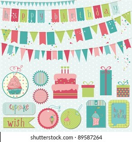Retro Birthday Celebration Design Elements - for Scrapbook, Invitation in vector
