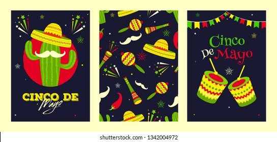 Retro black background header banner or poster design for Fiesta party celebration. music instrument, red chilli and bunting decoration.