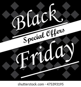 Retro black friday template, special offers, Vector illustration