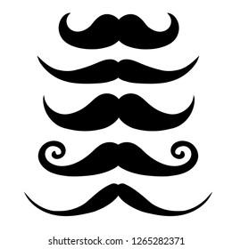 Retro black Mustache set isolated on white