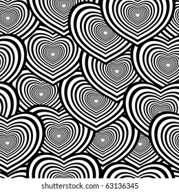 Retro black and white seamless heart background