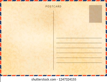 Retro blank postcard template with airmail border and paper texture