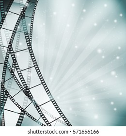 retro blue cinema background with film strips, rays and stars. vector