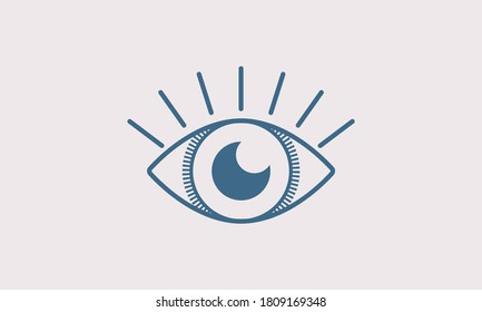 Retro Blue Eye with eyelash logo. Blue Linear eye with Rounded pupil of the eye isolated on background. Perfect for Beauty and Technology Logo. Flat Vector Logo Design Template Element