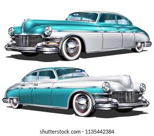 Retro blue white car isolated on white background.